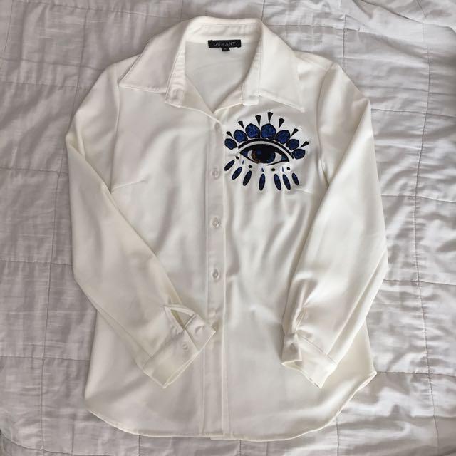 Eye embroidery white shirt