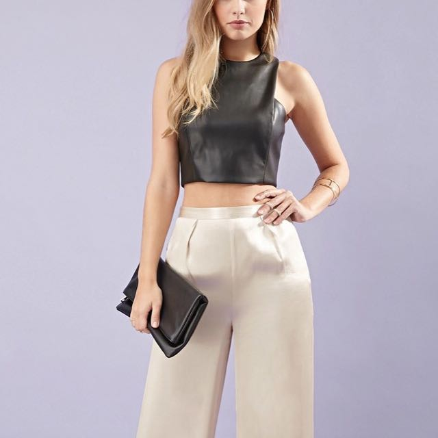 F21 leather high neck crop top