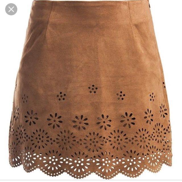 Forever 21 laser cut brown skirt