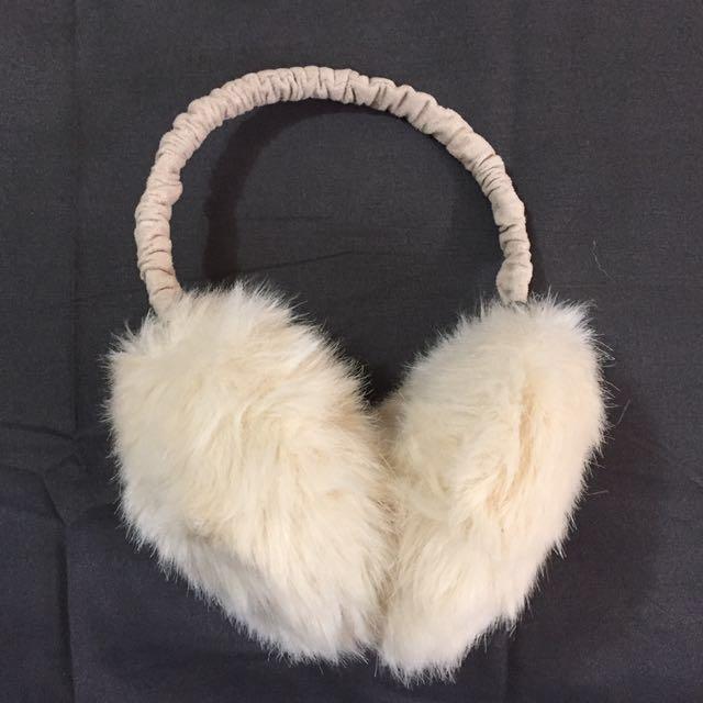 Furry beige earmuffs from Japan