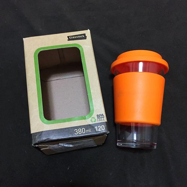 Glasslock 強化玻璃 隨行杯 橘色 (含運)