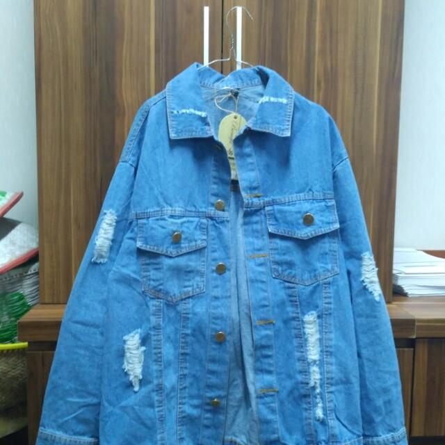 Jeans jaket destroy oversize (New No preloved)