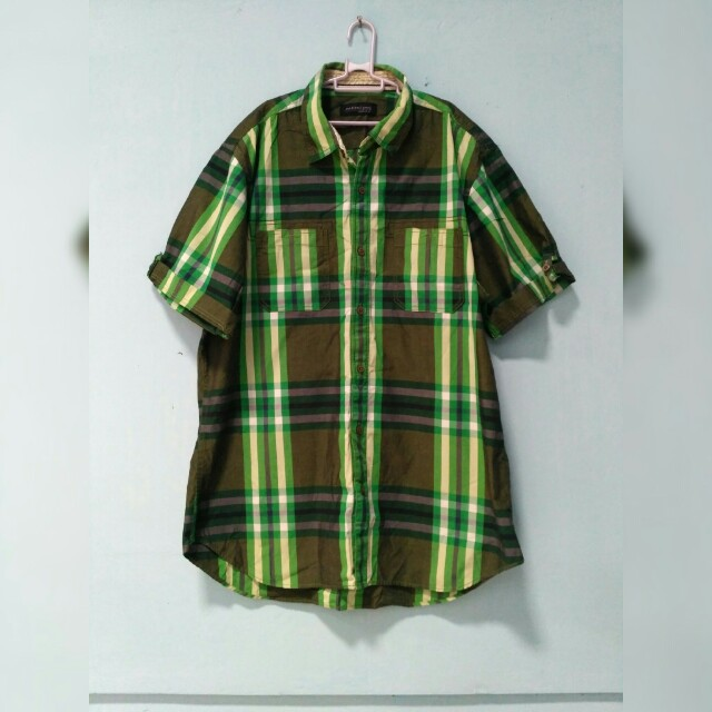 Kameja tartan hijau
