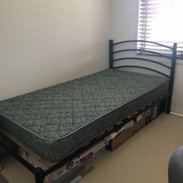 King single bed frame plus mattress