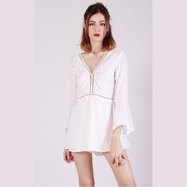 67736999a6 Kissablebella Fairlady Lace Playsuit (White)