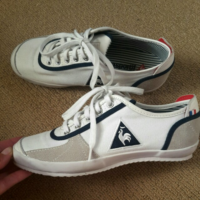 LE COQ SPORTIF White navy blue sneakers trainers runners canvas shoes AU6 NEW