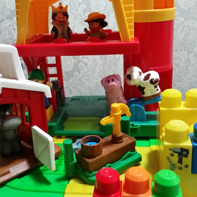 Lego table and fisher price little people farm