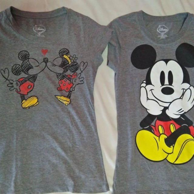 Lot of 2 Disney Mickey & Minnie gray shirts