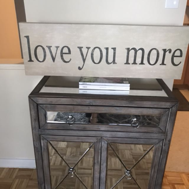 LOVE YOU MORE sign - colour beige