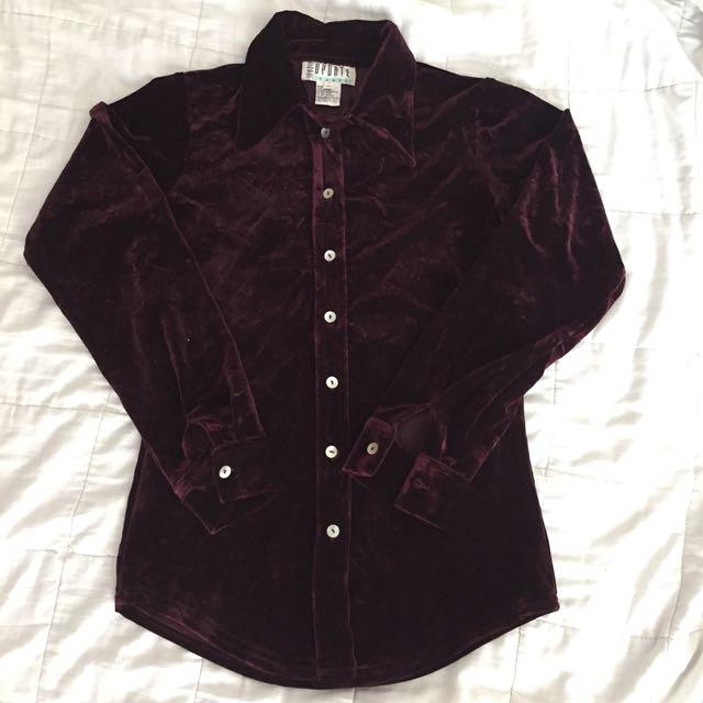 Maroon velvet shirt