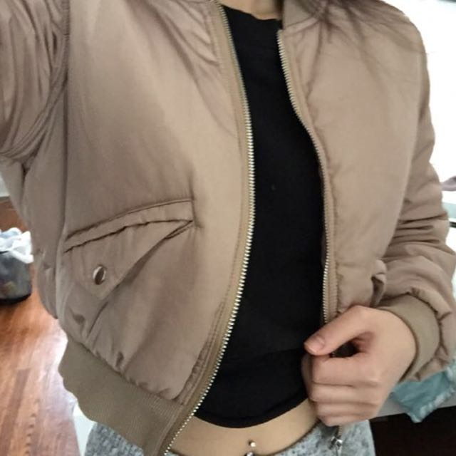 Misguided nude bomber jacket