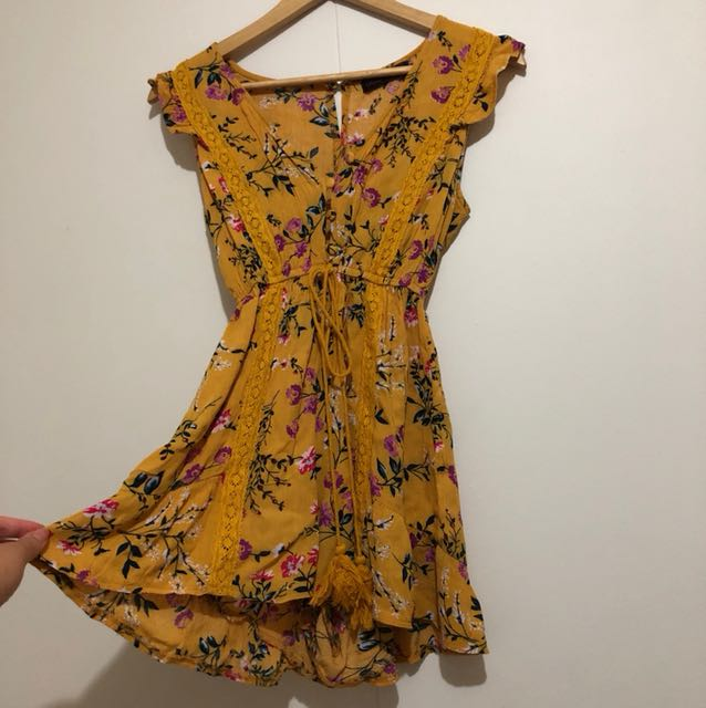 Mustard floral playsuit