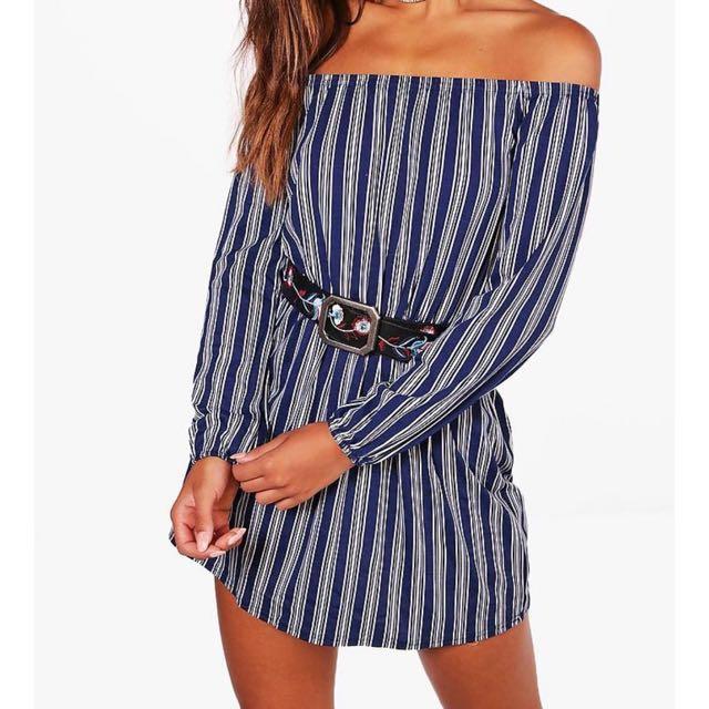Navy Stripe Off shoulder