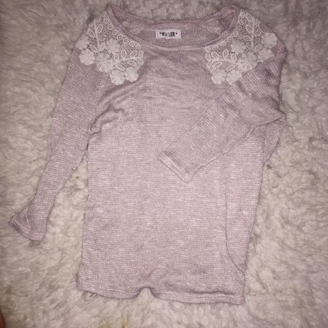 New Look Pink Glitter Embrodiery Sweater