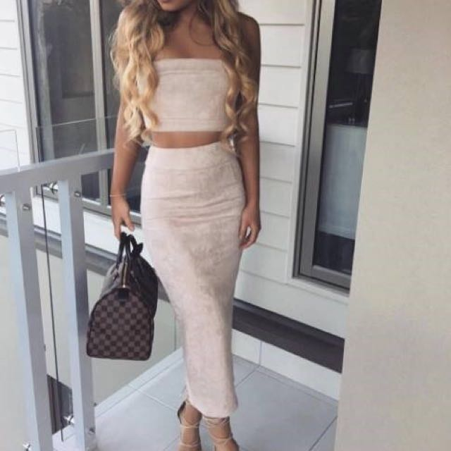 Nude Suede Strapless Two Piece
