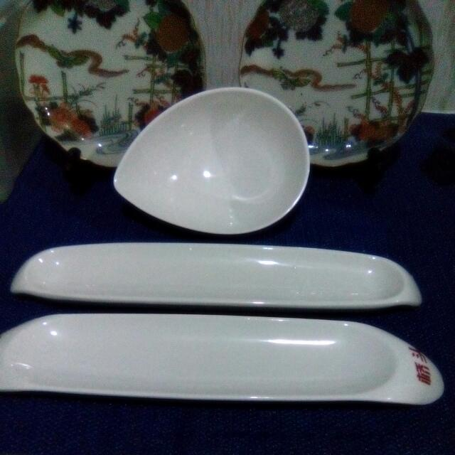 One Set Serving Bowl Tear Shaped And 2 Long Sauce Serving Plates