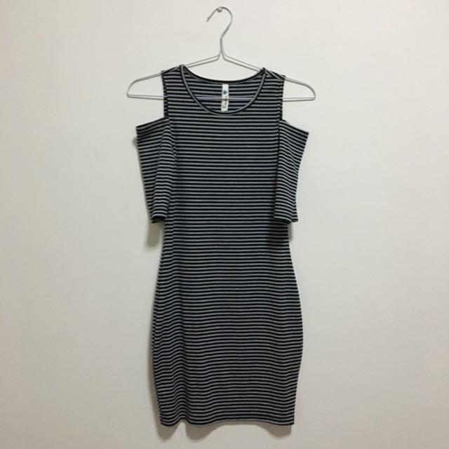 Open Shoulder Black Stripes Dress