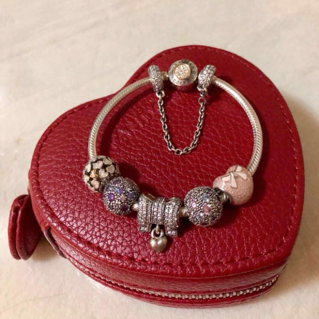 Pandora Bracelet, Safety Chain and Charms Package