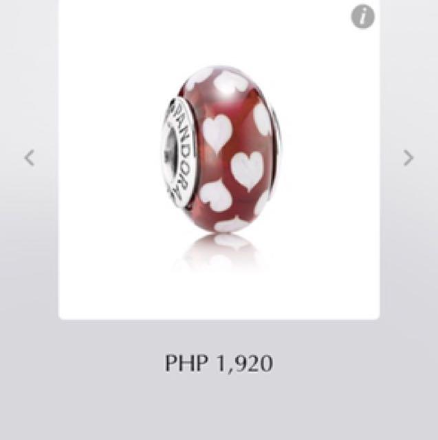 Pandora red and white heart murano charm