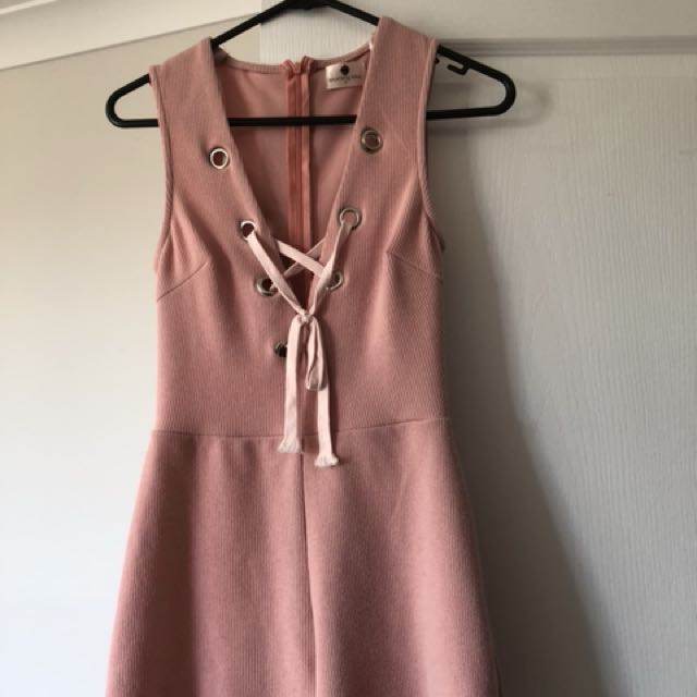Pink lace up playsuit / jumpsuit