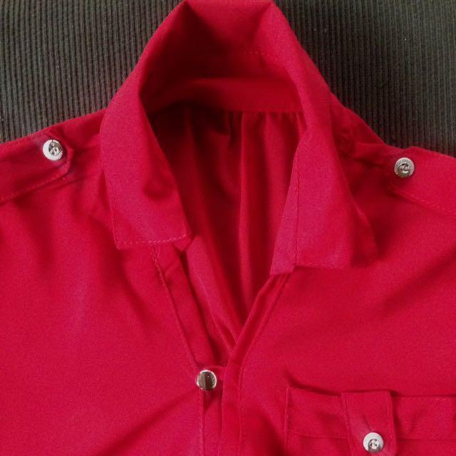 Red Chiffon Long Sleeves