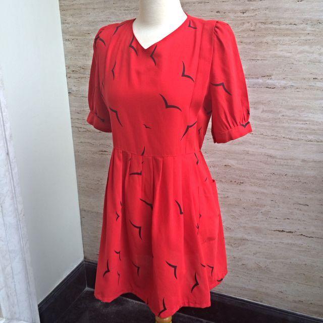 Red Dress Bird Print
