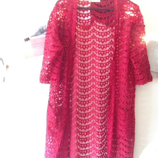 Red lace cover up