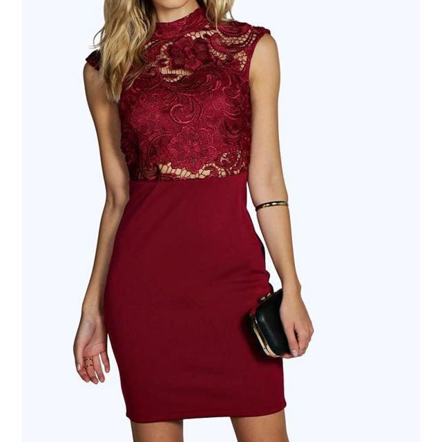 Red Lace Open Back Bodycon