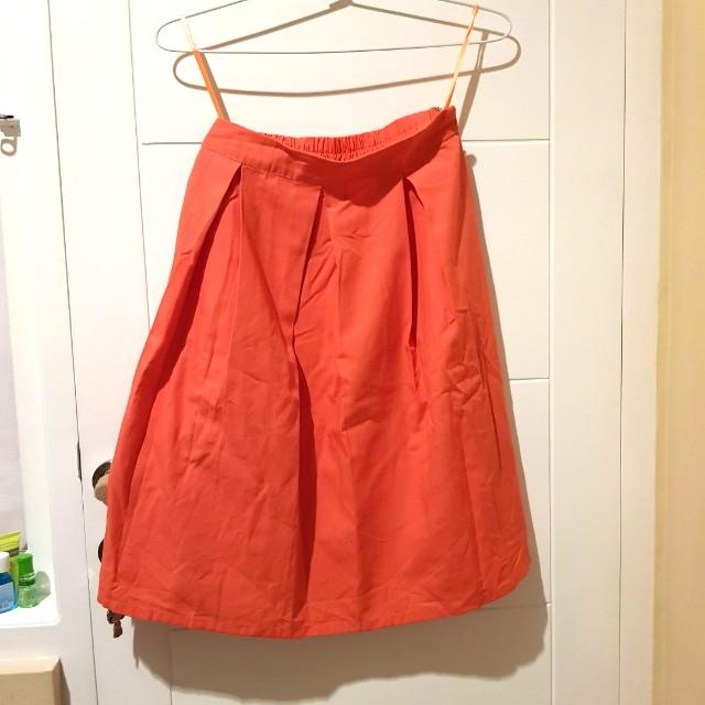Salmon Midi Skirt