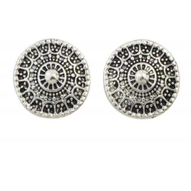 Silver festival circle earrings