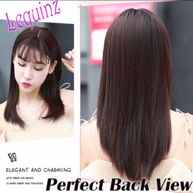 Straight Air Bangs Toupee Hair Extensions Clip On Womens