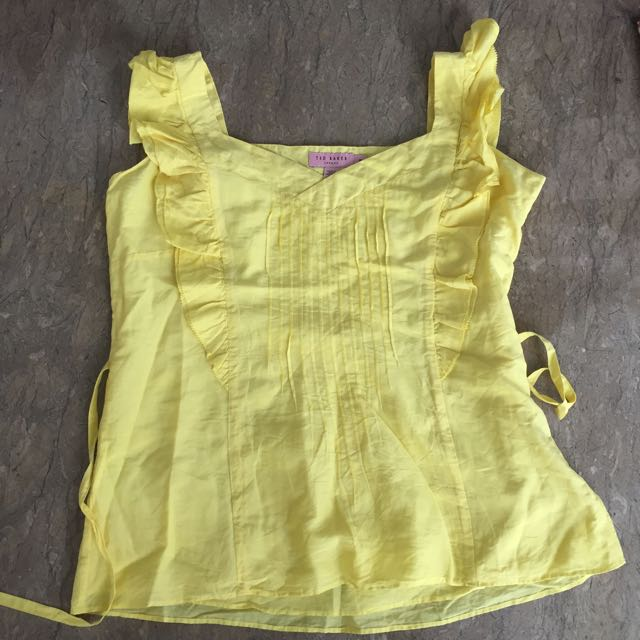 Ted baker yellow frill top