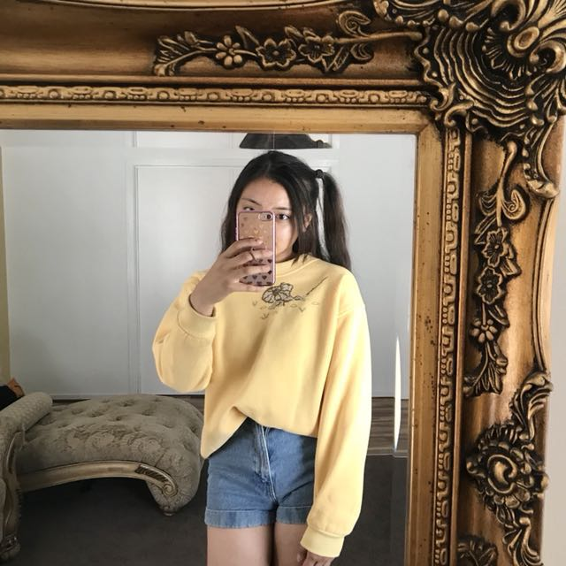 Vintage Yellow Oversized Embroidered Jumper Sweater
