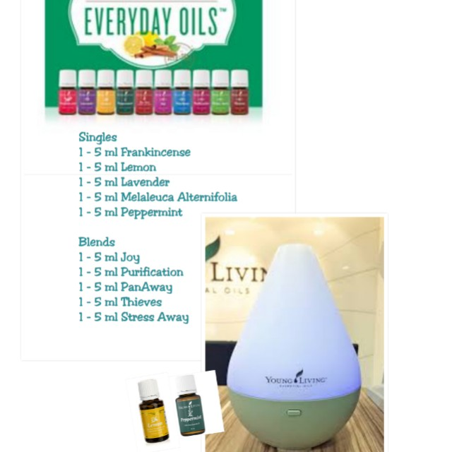 Young Living Everyday Oils And Dewdrop Diffuser Health Beauty