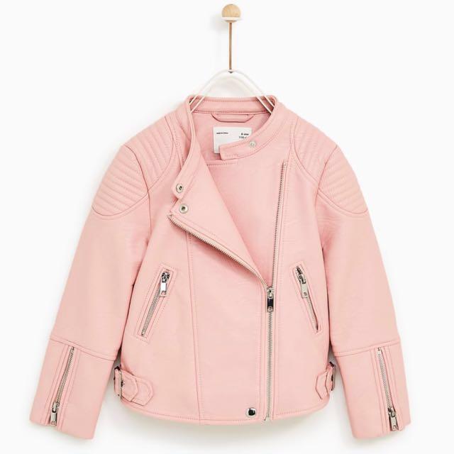 61cea77fd Zara girls pink faux leather biker jacket