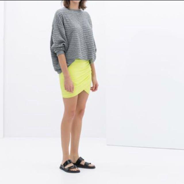 Zara neon wrap around skirt