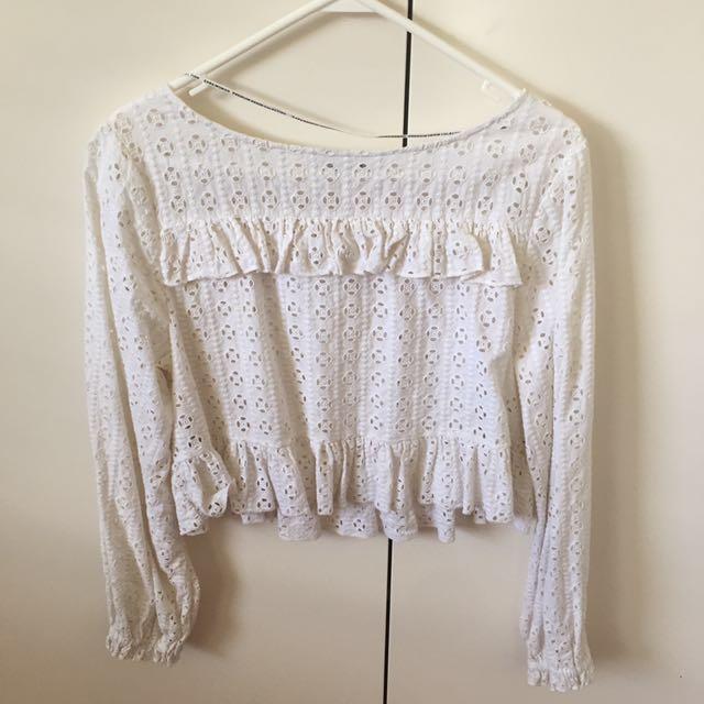 Zara white flowy lacey blouse
