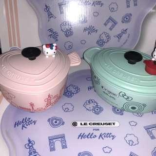 台版7-11 LC for Hello Kitty 粉紅X湖綠 鍋款盒