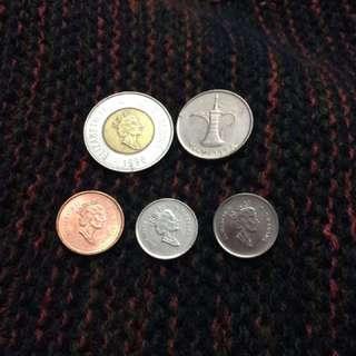 加拿大幣(4)+杜拜幣(1)