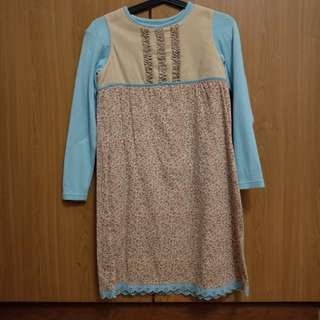Tailor made flowery blue and brown Dress