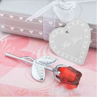Valentine's Day Crystal Silver Red Rose