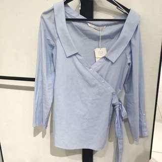 Zara sky blue top