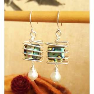 HANDMADE! Genuine Pearl Earrings 20017