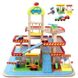 BN Wooden Multi-Storey Carpark Public Garage Petrol Station Car Wash Helipad Play Set