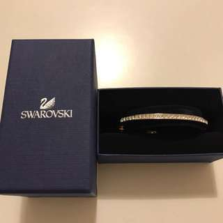 Swarovski ~ bangle , white, stainless steel