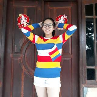 Rainbow sweeter knitted
