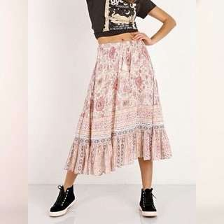 Cast Your Spell In This Gypsy Print Zahara RoseWater midi Skirt. Large. Bnwt. Boho