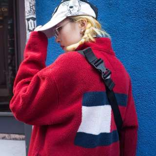 Vintage Tommy 紅色古著外套 羔羊絨