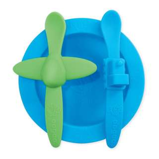 OOGAA SILICONE MEALTIME SET (BLUE BOWL)