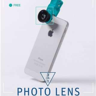 🚚 魚眼 廣角 微距鏡頭 三合一 全新附收納袋 所有手機 ipod適用 質感型